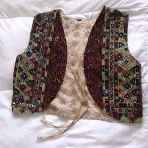 Pakistani Vest with tiny mirrors/silver plates